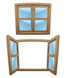 De houten vensters van het beeldverhaal