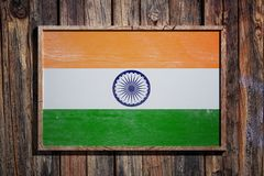 De houten vlag van India stock illustratie