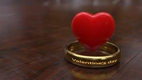 De houten vloeren en het hoogste ringsconcept valentijnskaarthart, het 3d teruggeven stock illustratie