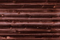 De houten voering scheept muur in donkere mahonie bruine houten textuur oude panelen als achtergrond, Naadloos patroon Horizontal Royalty-vrije Stock Afbeeldingen