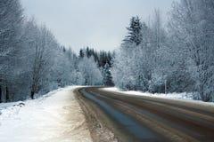 De houten weg van de winter Stock Afbeeldingen