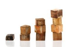 De houten wijnoogst als bedrijfsconcept, bereikt doelstellingen en recove Stock Afbeelding
