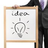 De houten witte raad van de zakenmangreep met woordidee en tekeningsverlichting blub Royalty-vrije Stock Fotografie