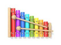 De houten xylofoon met houten trommel twee plakt 3D royalty-vrije illustratie