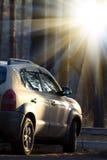 De houten zonsopgang van de auto Stock Foto
