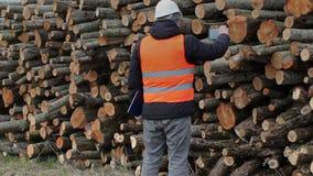 De houthakker neemt beelden op slimme telefoon dichtbij logboek van stapel stock videobeelden