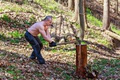 De houthakker snijdt een boomstam met een bijl Stock Afbeelding