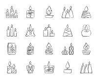 De houtskool van de kaarsvlam trekt de vectorreeks van lijnpictogrammen vector illustratie