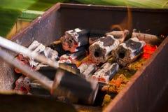 De houtskoolbrand is heet in de oven royalty-vrije stock afbeelding