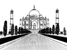 De houtskoolschets van de Taj mahal tempel op witte achtergrond royalty-vrije illustratie