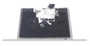 De houwerconcept van de computer - beschadigde PC Stock Fotografie