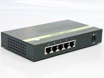 de hub van de 5 haven ethernet gigabit schakelaar Stock Foto