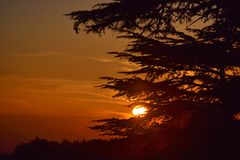 De huid - en - zoekt bij zonsondergang stock fotografie