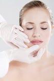 De huidcontrole van de lip Stock Afbeeldingen