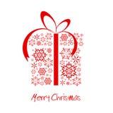 De huidige doos van Kerstmis die van rode sneeuwvlokken wordt gemaakt Stock Afbeelding