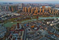 De huidige situatie van China ` s van jiangsuprovincie aan beide kanten van de stadsgebouwen Stock Foto's