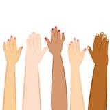 De Huidtonen van diversiteitshanden Stock Afbeeldingen