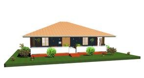 De huis-Bungalow van de zomer met portiek-3d vector illustratie