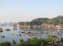 De huisboten in Ha snakken Baai dichtbij Cat Ba-eiland, Vietnam Stock Foto's