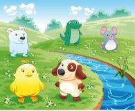 De huisdieren van de baby dichtbij de rivier. vector illustratie
