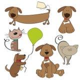 De huisdiereninzameling van het beeldverhaal Stock Foto's