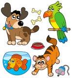 De huisdiereninzameling van het beeldverhaal Stock Afbeeldingen