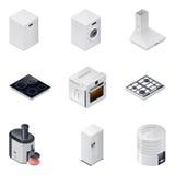 De huishoudapparaten detailleerden isometrische geplaatste pictogrammen, deel 1 Stock Foto