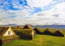 De huisvesting van Turfed in IJsland royalty-vrije stock foto's