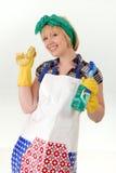 De huisvrouw treft voorbereidingen om huishoudelijk werk te doen Royalty-vrije Stock Afbeeldingen