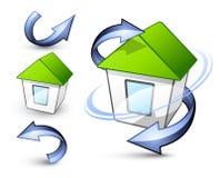De huizen en de pijlen van Eco Royalty-vrije Stock Foto's