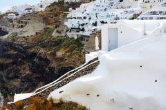 De huizen op Santorini-eiland Royalty-vrije Stock Foto's