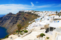 De huizen op Santorini-eiland Royalty-vrije Stock Foto
