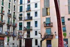 De huizen van Barcelona, oude stad Stock Foto