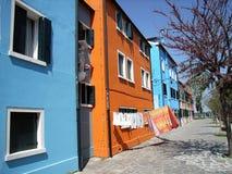 De Huizen van Burano Stock Fotografie