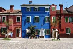 De Huizen van Burano Stock Foto's
