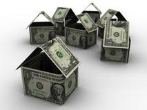 De Huizen van de dollar in 3d Stock Foto