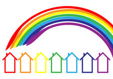 De huizen van de regenboog Stock Afbeeldingen