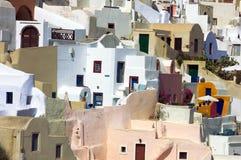 De huizen van de santorinilagune van Griekenland Royalty-vrije Stock Foto