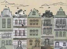 De huizen van de stad - kunstwerk Stock Foto's