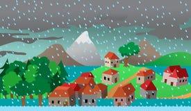 De huizen van de stad of van het dorp in vloed Stock Afbeelding