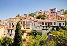 De huizen van de Vathiheuvel Samos, Griekenland Stock Afbeelding
