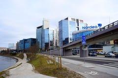 De huizen van de Vilniusstad in centrum op 13 Maart, 2015 Stock Foto's