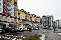 De huizen van de Vilniusstad in Zirmunai-de stad van districtsnord Royalty-vrije Stock Afbeelding