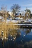 De huizen van de waterkant de vroege winter Royalty-vrije Stock Foto