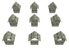 De huizen van dollars Stock Foto's