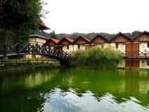 De huizen van het dorpsmeer die op Colonia Tovar worden gevestigd Stock Foto's