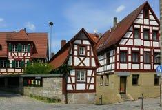 De huizen van het frame in Franconia/Beieren Stock Afbeeldingen