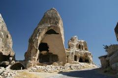 De Huizen van het hol in Cappadocia Stock Afbeeldingen