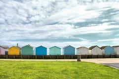 De Huizen van het kleurenstrand, Engeland, het Verenigd Koninkrijk Stock Foto's