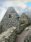 De huizen van het metselwerk van Machu Picchu in Peru Stock Foto